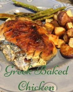 Greek Baked Chicken. This recipe is so great because it is so easy. Whip together the marinade in the morning and cook it for dinner. Hands on is around 10 minutes at the most. Pair this juicy chicken with some baked vegetables and you have an awesome dinner.