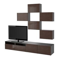 Ikea TV storage combination with pushopen doors and drawers blackbrown Selsviken highglossbrown 12202231151010