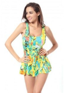 fafc5e95bb Sexy U Neck Yellow Floral Print Swimsuit One Piece Swimwear