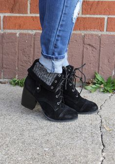 Black Foldover Lace Up Bootie