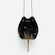 VELVET EVENING BUCKET BAG from Zara