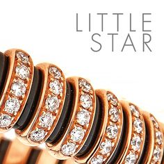 Do you want to light up any room? This handcrafted stretch rose gold bracelet with black ceramic and diamonds might help. Time to shine, little star.
