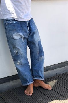 Justing Jeans Destroyed Denim Herren Hose Japan Worker Style Streetwear Vintage