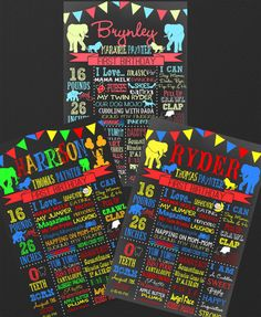Carnival Themed Birthday Chalkboard Circus by CustomPrintablesNY