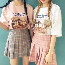 334d284d15e049 Zomer grijs roze oude school plaid plooirok hoge taille mini rok vintage jupe  taille haute falda