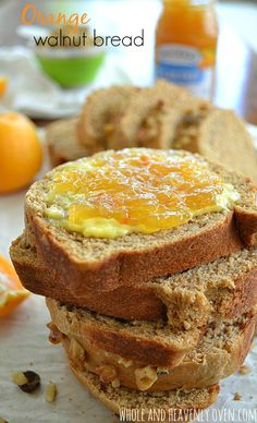 Super-soft and studded with crunchy walnuts, this citrus-y yeast bread will make your mornings 10x sweeter!   wholeandheavenlyoven.com #breakfast #redstaryeast