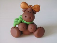 Polymer Clay Moose Figurine by ClayPeeps on Etsy, $8.00