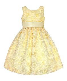 Love this Yellow Rosette Dress - Girls' Plus by American Princess on #zulily! #zulilyfinds