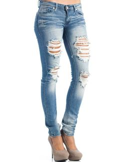 destroyed skinny denim jeans
