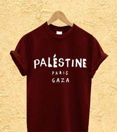 Palestine Paris Gaza Men or Women T Shirt Black by KokorikoShop