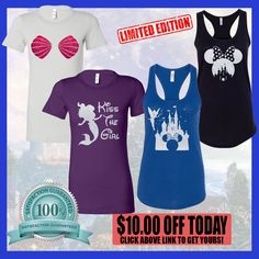 """Make 2017 a sparkling year with this disney glitter design tees. Wear your most memorable childhood cartoon characters """"tinkerbell, Minnie mouse & the litlle mermaid. celebrating another fun year at the park with families and friends. don't miss out.. click on the link and get your disney glitter tee today! on sale for only $19.95 check it out ===> https://www.etsy.com/shop/casestore347"""