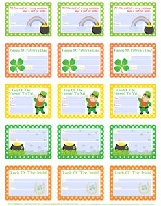 St Patty's Day labels > free printables - fillable templates