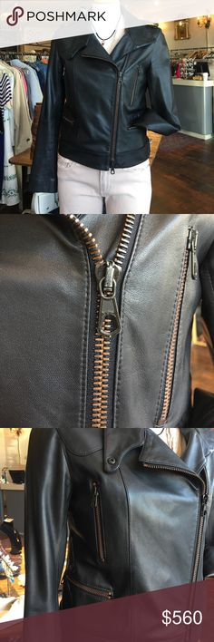 Rag & Bone Lamb Leather Moto Jacket Ohhhh my god. This jacket is perfect. Beautiful striped lining and copper toned zippers. The softest leather I've felt in my whole life. Mint condition. Reasonable offers welcome! rag & bone Jackets & Coats