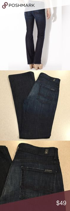 7 For All Mankind Jeans 29X34 High Waist Boot LADK 7 for all mankind jeans High waist Bootcut in LA Dark Size 29 34 inch long unaltered inseam (hard to find!) High quality soft denim Vibrant blue wash with light fading Heavy blue signature stitch pockets High waist but fits everywhere else like regular jeans! All of my items come from a smoke free, pet free home and are authenticity guaranteed! Please ask any questions 123-25 7 For All Mankind Jeans Boot Cut
