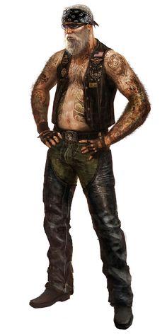 "MotorStorm Apocalypse ""Big Dog""; male human rocker or go-ganger; shadowrun, cyberpunk"