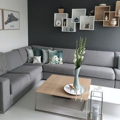 Check out these superbly stylish monochromatic living room decorating idea that will totally inspire you! Pick the best one and style up your home now! Accent Walls In Living Room, Living Room Sofa Design, Living Room Modern, Living Room Designs, Living Room Decor With Grey Sofa, Drawing Room Design, Drawing Room Interior, Drawing Rooms, L Shaped Living Room Layout