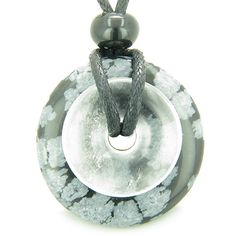 Amulet Magic Donuts Snowflake Obsidian Quartz Evil Eye Protection Pendant Necklace