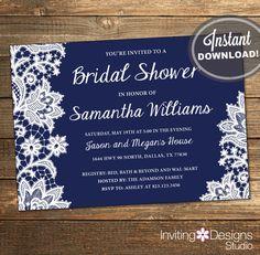 Lace Bridal Shower Invitation, Wedding Shower Invitation, Lace, Navy Blue, Dark Blue, White, Printable File (Custom Order, INSTANT DOWNLOAD)