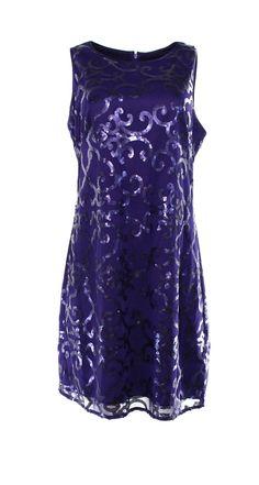 Jessica Howard NEW Purple Sequinned Mesh Women's Size 8 Sheath Dress $99