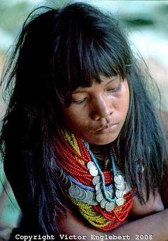 Colombia | Choco rain forest. Nooanama Indian girl