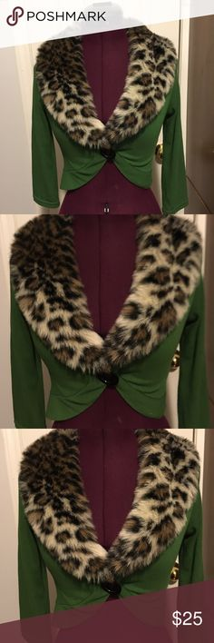 Green Leopard Fur Cardigan Size Small Green leopard fur cardigan. Worn once or twice, great condition size small Rock Steady Sweaters Cardigans