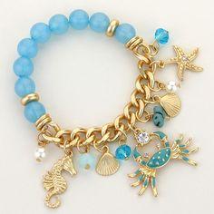 Blue Beads Gold Chain Ornate Sea Life Stretch Charm  Bracelet by GlitsandGlitters on Etsy