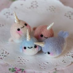 Needle felting adventures! ✨ Enjoy some little Narwhals…""