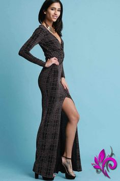 130aec04d6 Metallic Glitter Grid Twisted Long Sleeves Front Slit Maxi Dress
