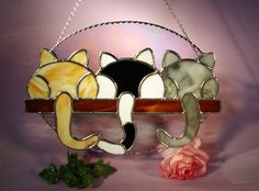 Stained Glass Suncatcher 3 Kittens Looking Out of the Window (559) by StainedGlassbyWalter on Etsy