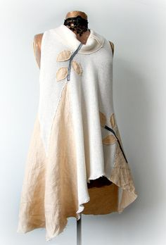 Women's Art Shirt Cream Long Tunic by BrokenGhostClothing on Etsy