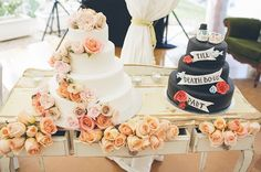 Floral cake punk tattoo wedding cake