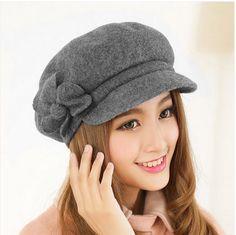 fashion flower beret hat for women autumn wear