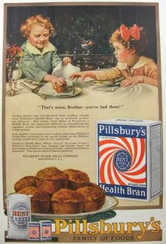 1919 Pillsbury's Health Bran Ad ~ Brother and Sister