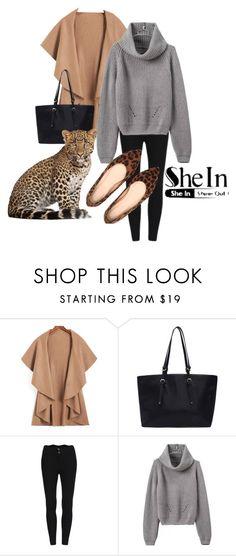 """Shein Win Khaki Loose Coat"" by teez-biz-nez ❤ liked on Polyvore"