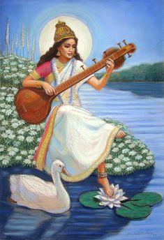 Items similar to Saraswati Hindu spiritual yoga meditation Goddess Art Painting original by Sue Halstenberg for Doreen Virtue on Etsy Indian Goddess, Goddess Art, Saraswati Goddess, Saraswati Mata, Original Paintings, Original Art, Spiritual Paintings, Mother Goddess, Hindu Art