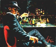 Whiskey at las brujas-v.  Artist Fabian Perez