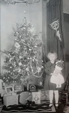 Antique Christmas 1920 Photo of A Girl Holding A Doll by Tree with Toys | eBay