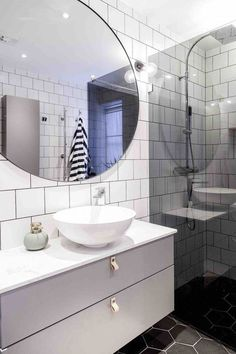 Read More About New Bathroom Ideas House Bathroom, Decorating Bathroom, Bathroom Remodel Cost, Round Mirror Bathroom, Modern Bathroom, Bathroom Inspo, Dream Bathroom, Bathroom Renovation, Bathroom Inspiration