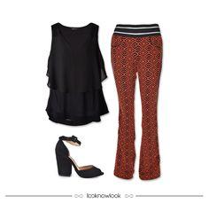Blusa em camadas + Calça flare estampada + Sandália salto grosso #moda #look #outfit #lojaonline #ootd #shop #lnl #looknowlook