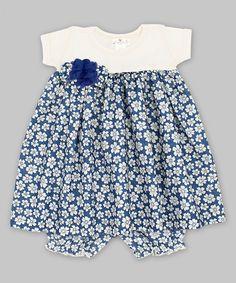 Truffles Kids Blue & Ivory Floral Babydoll Dress//