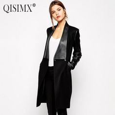 QISIMX NEW 2016 Spring Autumn Women Woolen Jacket Fashion PU Jackets For Women Long Style Slim Coat