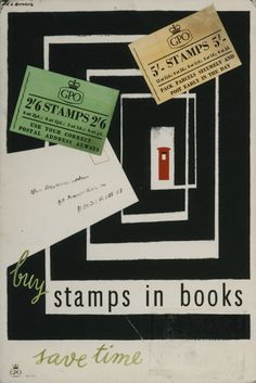 Poster advertising stamp books. Artist: Hans Arnold Rothholz Date: October 1955  Find this on our online catalogue  Designs on Delivery - GPO Posters from 1930 to 1960