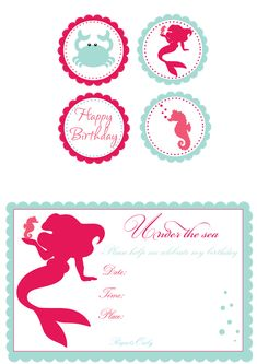 Little mermaid Birthday - I would have loved this as a little girl!, except Flounder would have had to be on one of those invitations ;)