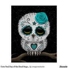 Cute Teal Day of the Dead Sugar Skull Owl Stars Print