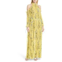 Women's Self-Portrait Floral Pleated Cold Shoulder Maxi Dress (16.272.670 VND) ❤ liked on Polyvore featuring dresses, yellow, floral dresses, cold shoulder dresses, floral maxi dress, floral print maxi dress and chiffon dresses