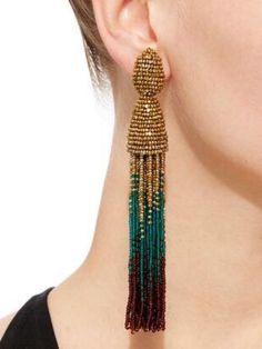 Ombre Long Beaded Clip Tassel Earring by OSCAR DE LA RENTA Now Available on  Moda Operandi | Bejeweled | Pinterest | Tassel earrings, Oscar de la Renta  and ...