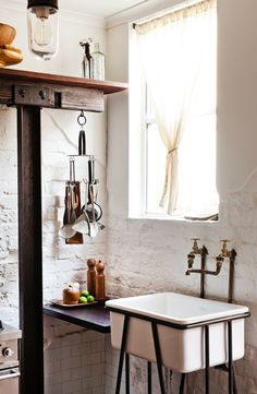 sink, white brick, hanger..  kiyoaki:  (vía Newcastle Home – Juliana Foong of High Tea with Mrs Woo – The Design Files)      Sink