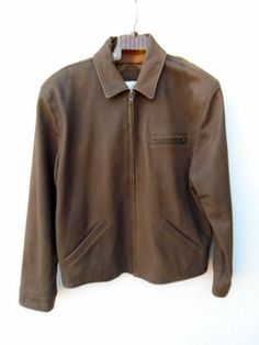 MICHAEL HOBAN NORTH BEACH Rich Soft Brown Leather Bomber Jacket Size M #NorthBeachLeather #BasicJacket