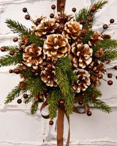 diy kissing ball with pine cones crafts unleashed within pinecone christmas crafts Christmas Pine Cones, Easy Christmas Crafts, Rustic Christmas, Christmas Projects, Simple Christmas, Christmas Wreaths, Christmas Ornaments, Natural Christmas, Primitive Christmas