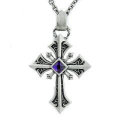 Silver Gothic Cross Necklace with Purple Stone ($18) ❤ liked on Polyvore featuring jewelry, necklaces, cross necklace, purple silver jewelry, purple stone necklace, purple stone jewelry and gothic cross necklace